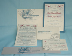 Invitation Suite (UglyKitty) Tags: pink blue wedding red bird silver handmade metallic gocco invitation envelope swirl invite rsvp bellyband directioncard ivorylayered partygocco