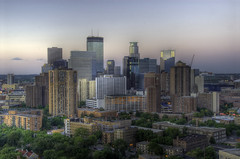 Minneapolis Dusk (Greg Benz Photography) Tags: sunset urban skyline photography dusk twincities hdr urbanskyline downtownminneapolis softcolor carbonsilver photosofminneapolis twincitiesskyline twincitieshdr minneapolishdr