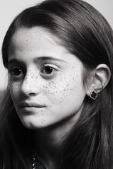 unusual (Ghadeer Q) Tags: portrait bw white black girl kids canon earring freckles kuwait homestudio vancleefarpels khawla ghadeerq