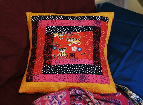 Wonky Log Cabin quilted pillow for my couch