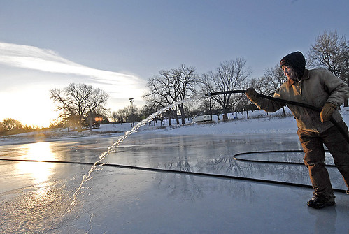 Chris makes the ice smooth at dawn