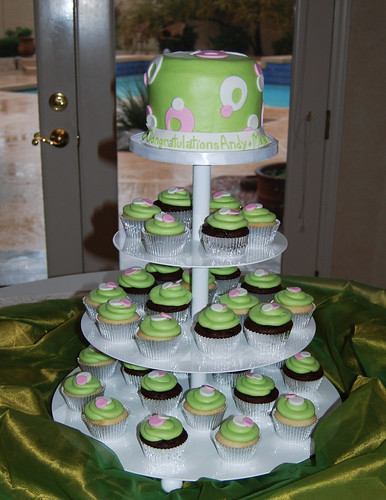 Green pink and white sassy circles bridal shower cupcake tower