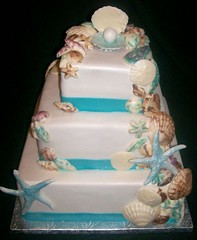 Beach wedding cake (Enchanted Cakes of Brevard) Tags: wedding beach cake seashells