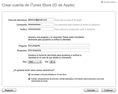 Cuenta iTunes Store 02 ID