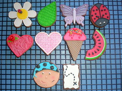 Cookies - Various 01 (Sugar Siren (Francesca)) Tags: flower butterfly hearts leaf cookie map icecream pirate daisy ladybird ladybug watermellon fondant royalicing