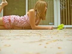(kerosene eyes.) Tags: trees summer flower green yellow vintage hair outside sad dress excited deck end blinds leap photoscape carolinaliar