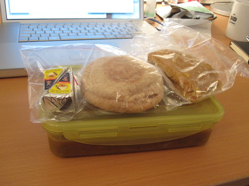 Broad bean soup, english muffin, cheese and lemon bar - from groceries