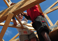 Heather Working on the Trusses