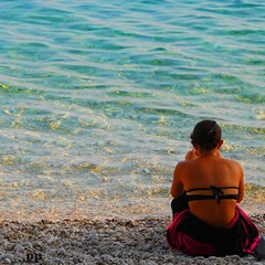 Golden Sea - Orebc, Croatia (Osvaldo_Zoom) Tags: sunset sea summer woman beach nature water gold croatia transparence sabbioncello 1830pm orebc theauthorsplaza