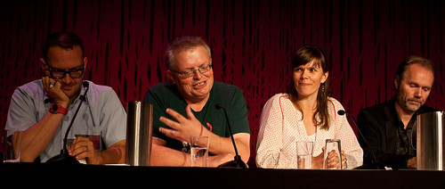 Photo of the debate with Doctorow, Newth, Kalsnes, Buset.