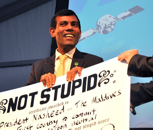 President Muhammed Nasheed accepts his Not Stupid award
