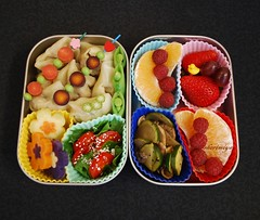 Wonton Bento (sherimiya ) Tags: school mushroom fruits kids tomato lunch salad kid healthy sheri strawberries homemade grapes wonton bento zucchini sweetpotato okra tangelo dumplings raspberries obento skewers peapods satsumaimo okinawansweetpotato purplecarrots marooncarrots sherimiya
