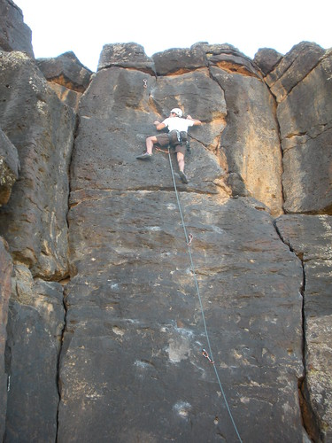 Me climbing some on some sweet basalt outside St. George, Utah.
