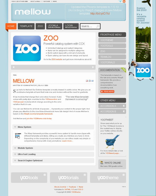 Mellow October 09 Joomla Template