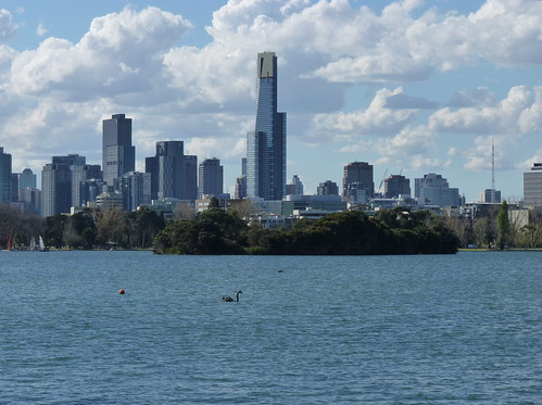 View of Melbourne from albert Park Lake