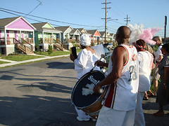 resident Charice Harrison-Nelson leads the parade (by: Musicians' Village)