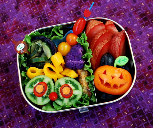 Weird Eyes and Jack-o-lantern Bento