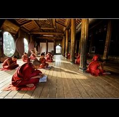 Young Monks studying - Shwe Yaungwhe monastery - Nyaung Shwe - Inle Lake - Myanmar (Burma) (Lucie et Philippe) Tags: lake burma lac monk buddhism monastery monks cult myanmar inle philippe moines buddhists bouddhisme birmanie moine nyaungshwe nyaung langel shwe culte bouddhiste bouddhistes bouddhist bouddhique earthasia mygearandme shweyaungwhemonastery yaungwhe