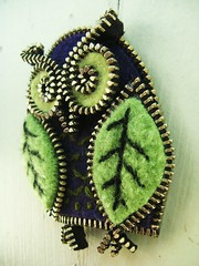 Wee owl... (woolly  fabulous) Tags: green wool leaves pin purple recycled handmade brooch felt owl zipper embroidered ecofriendly