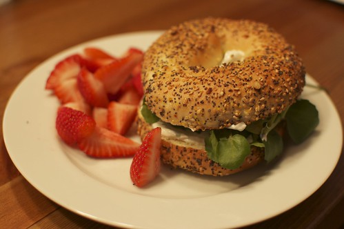 Bagel with Chive Cream Cheese and Watercress
