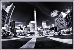 San Francisco Infrared (edpuskas) Tags: sanfrancisco blackandwhite bw skyline ir cityscape fisheye infrared unionsquare hdr nikond3100