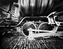 The Iron Cycloid (4x5 Pinhole Photograph) (integrity_of_light) Tags: bw heritage film train vintage rivets steam pinhole piston 4x5 locomotive largeformat zeroimage silvergelatin fujiacros100 zero45