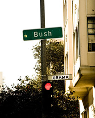 {020} Bush Street --> Obama Street (jen_maiser) Tags: sanfrancisco explore inauguration sfist inaugurationday bushstreet project365 obamastreetsign obamastreet