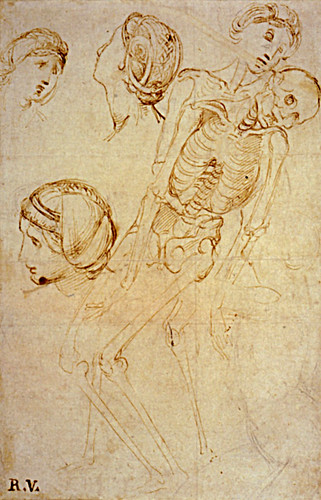1507  Raphael    Studies for the EntomBibliothèque municipaleent, Anatomical Study of the Virgin supported by the Holy women  Pen and brown Ink  30,7x20,2 cm  Londres, British Museum