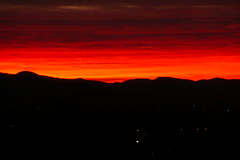 blood red sky (randywhe) Tags: california red sky orange mountains yellow clouds sunrise cloudy hills tustin bloodred bloodredsky