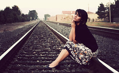 Rose (margyyy) Tags: railroad girl rose lady dress tracks