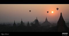 Bagan Sunrise (Kyaw Photography) Tags: morning sun silhouette photoshop sunrise balloons landscape burma kitlens temples mandalay pagodas bagan earthday canonefs1855 ancientcity freeburma arimaddanapura thecityoftheenemycrusher canoneos450d rebelxsi kyawphotography burmesetradition yeyintkyaw