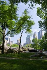 Skyline with Boulders and Trees (shiftdnb) Tags: park city nyc newyork building skyline skyscraper centralpark metropolis bigapple essexhouse