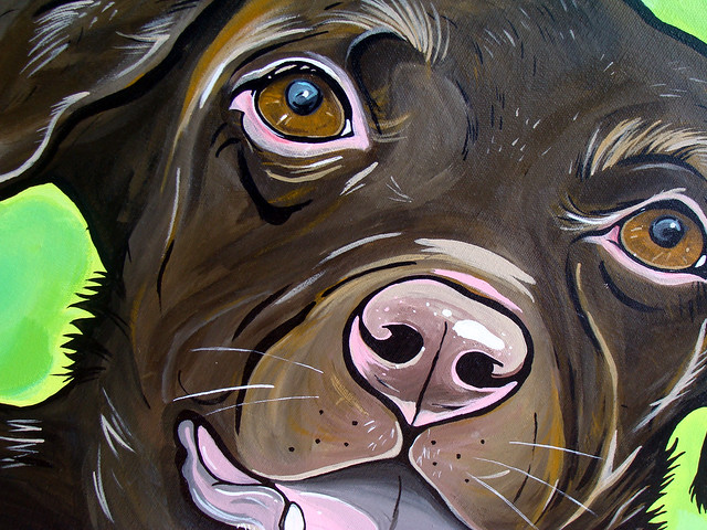 Hershey: Chocolate Lab Labrador Puppy Dog Portrait Painting Animal Art