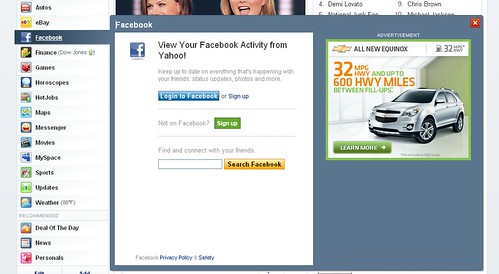 Yahoo new homepage Facebook integration