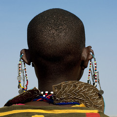 Maasai beaded ornaments on the ears - Kenya (Eric Lafforgue) Tags: africa portrait people face hole kenya african culture tribal piercing human ear tribes afrika remote tradition tribe ethnic masai maasai tribo visage afrique ethnology tribu eastafrica qunia 8143 lafforgue ethnie ethny  qunia    kea    a