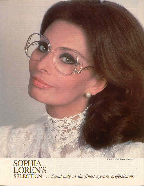 Sophia Loren wearing drop temples - sexy vintage glasses