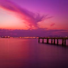 the cloud (Georgios Karamanis) Tags: city red sea sky cloud color water square lights dock long exposure ship purple greece thessaloniki powmerantusenord