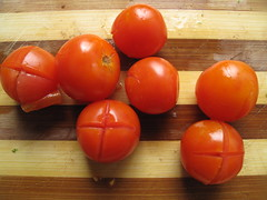 Tomatoes, ready to be peeled