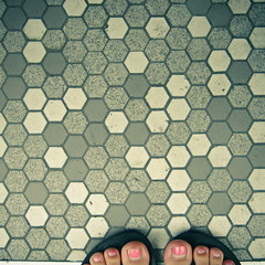 No.301 (_cassia_) Tags: pink feet grey brighton toes floor mosaic sunday august nails tiles hexagon multiple 9th 365daysincolour