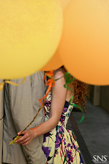 In Your Face: Balloons ({SNS Photography}) Tags: boy portrait orange woman man texture love girl beautiful fashion yellow canon vintage balloons fun groom bride engagement couple dress wind overlay romantic redhair curlyhair xti esession orlandophotography snsphotography