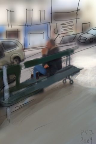 guy in a bench