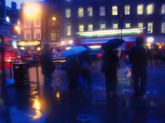 Blue Blurry umbrellas (Che-burashka) Tags: street blur london night blurry gettys islington vaselineonlens gettyskn welcomeuk
