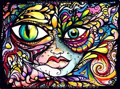 In Full Bloom (lucidRose) Tags: original watercolor painting spirit originalart goddess etsy psychedelic shaman hypnotic chelsearose lucidopticlab