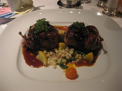 Gary Danko - Quail Stuffed with Foie Gras, Mushrooms and Quinoa, Fregola and Black Olive-Pine Nut Gremolata