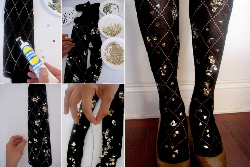 diy tutorial embellished sequined tights 2