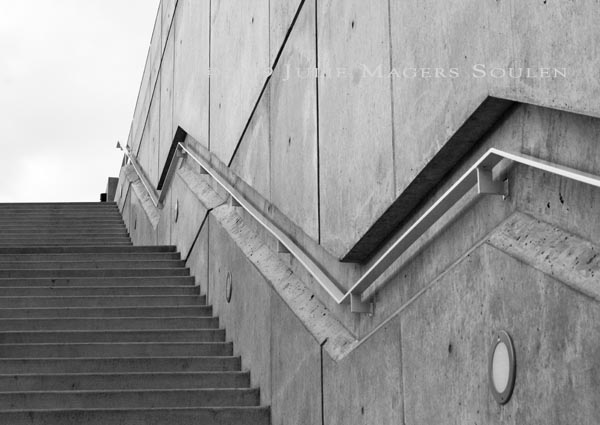 black and white zig zag stairway at Olympic Sculpture Park