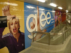 GLEE! (Sweet One) Tags: show toronto ontario canada art station television wall night dark subway hand ttc advertisement transit l network forehead commission 2009 branding global nuitblanche glee whitenight zonea blooryonge janelynch allnightcontemporaryartthing suesylvester