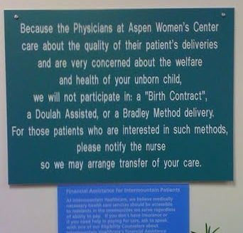 ob sign refusing doula care, Bradley method, and birth plans