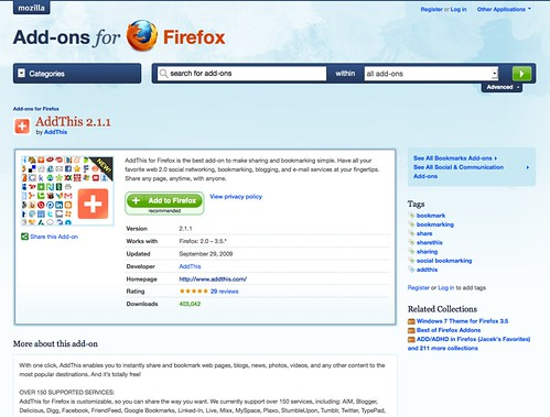 The AddThis Firefox Add-on Passes 400,000 Downloads and Gets An