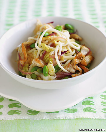 chicken, edamame and noodle stir fry